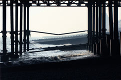 Hastings Pier. A view beneath the endangered Hastings Pier Stock Images