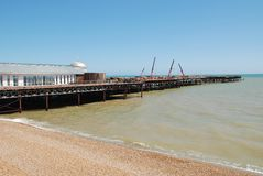 Hastings pier construction Royalty Free Stock Photo