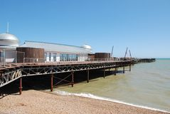 Hastings pier, England. Re-construction work on the historic Victorian pier at Hastings in East Sussex, England on July 6, 2015. Built in 1872, the pier was Stock Image