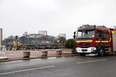 Hastings pier fire Stock Photos