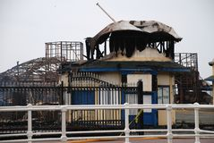 Hastings pier fire Royalty Free Stock Photography