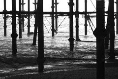 Hastings Pier. This is a photo taken from beneath Hastings Pier in Sussex Royalty Free Stock Photo