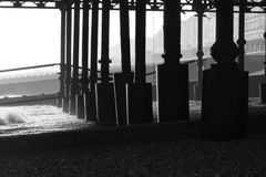 Hastings Pier. This is a photo taken from beneath Hastings Pier in Sussex Royalty Free Stock Images