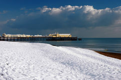 Hastings Pier in the Snow-1 Stock Images
