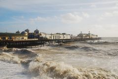 Hastings pier in stormy sea Royalty Free Stock Images