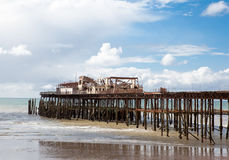 Hastings pier, was burnt down in october 2010 Stock Image
