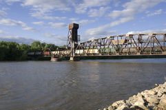 Hastings Railroad Lift Bridge. Railroad vertical lift bridge spanning Mississippi River in Hastings Minnesota stock photo