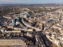 Hastings UK, 10-16-18 - Aerial view of Hastings Town in UK stock images