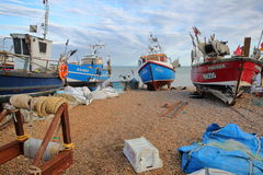 HASTINGS, UK - JULY 21, 2017: Beach launched fishing boats stock images