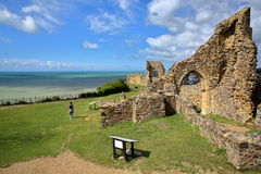 HASTINGS, UK - JULY 23, 2017: The ruins of Hastings Castle in East Sussex Royalty Free Stock Images