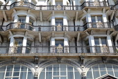HASTINGS, UK - JUNE 28, 2015: Ornate metal balconies at Palace Court Stock Photos