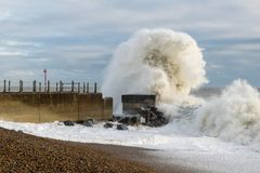 Hastings Winter Storm 2017. Hastings Winter Storm Shots Taken from Beach Towards Pier and Fishing Habour Area Royalty Free Stock Images