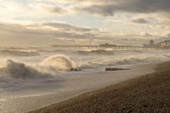 Hastings Winter Storm 2017. Hastings Winter Storm Shots Taken from Beach Towards Pier and Fishing Habour Area Stock Photography
