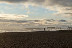 Hastings Winter Storm 2017. Hastings Winter Storm Shots Taken from Beach Towards Pier and Fishing Habour Area Stock Photos