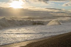 Hastings-Winter-Sturm 2017 Stockfotografie