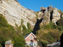 HASTINGS, wschód SUSSEX/UK - LISTOPAD 06: Wschodni wzgórze Funicular Raja Zdjęcie Stock