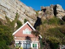 HASTINGS, wschód SUSSEX/UK - LISTOPAD 06: Wschodni wzgórze Funicular Raja Fotografia Royalty Free