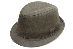 Hat. One fashin hat made of dark denim isolated in white stock photography