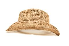 Hat. A straw hat isolated on white royalty free stock photos