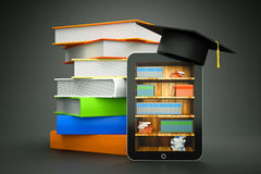 Hat. A tablet computer with graduation hat and bookcase on screen as a education concept Stock Image