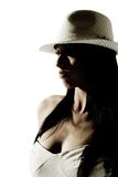 Hat. Head and shoulders shot of fashion model in hat royalty free stock photos