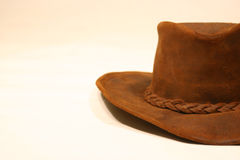 The hat. Old leather brown hat royalty free stock photography