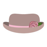 Hat accessory design. Elegant women hat with decorative rose icon over white background. vector illustration Stock Image