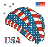 A hat with American flag. Headgear hand-drawn sketch with symbols of the USA. Vector illustration Royalty Free Stock Image