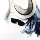Hat And Blue Scarf With Sunglasses Royalty Free Stock Photo