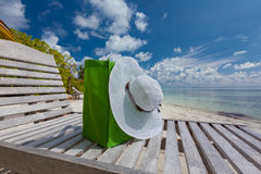 Hat and bag at lounge Royalty Free Stock Photography