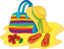 Hat, bag, sandals.  Royalty Free Stock Photography