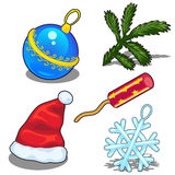 Hat, ball, snowflake and Christmas tree branch Stock Images