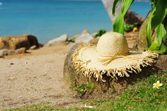 Hat on a beach Royalty Free Stock Images
