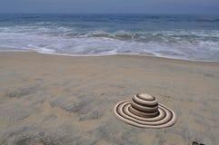 Hat on the Beach. A beach hat lying on a beach stock photos