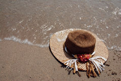 Hat on a beach Royalty Free Stock Image