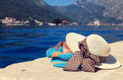 Hat and beach bag near the sea in Montenegro Stock Photos