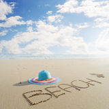 Hat on Beach and bule sky  in Krabi Thailand Stock Photography