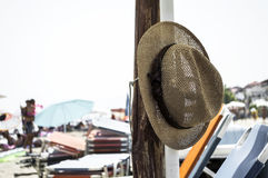 Hat on the beach stock image