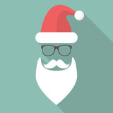 Hat, Beard, Mustache and Glasses of Santa Stock Images