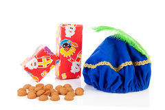 Hat of black pete, gifts and pepernoten Stock Photo