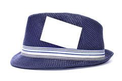 Hat with a blank label. A retro blue hat with a blank label on the ribbon Royalty Free Stock Images