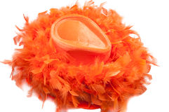 Hat and boa as tipical accessories on the Koningsdag in Amsterdam. The Netherlands Stock Images