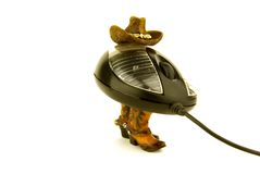 Hat and boots. A computer mouse with hat and boots on white Stock Photography