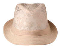Hat with a brim .hat isolated on white background.beige hat stock images