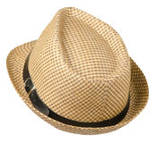 Hat with a brim .hat isolated on white background.beige hat royalty free stock photography