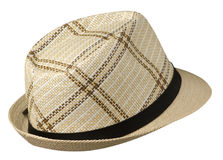 Hat with a brim .hat isolated on white background .beige hat stock photography