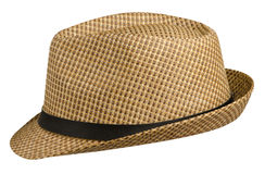Hat with a brim .hat isolated on white background . brown hat stock photography