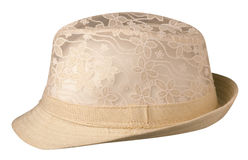 Hat with a brim. Hat isolated on white background.beige hat royalty free stock images