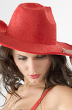Hat and brunette Stock Photos