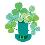 Hat with bunch of clovers. Royalty Free Stock Images